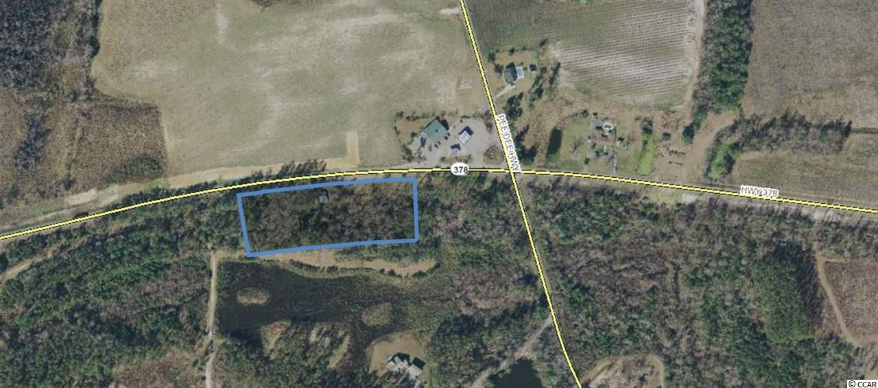 Prime land available with endless potential and great visibility. The site is easily accessible from both Hwy 378 and Pee Dee Hwy. This is a heavy traveled vacation corridor by commuters making their way to Myrtle Beach and beyond.  Lowest price per acre off of Hwy 378. Amazing potential and plenty of frontage!