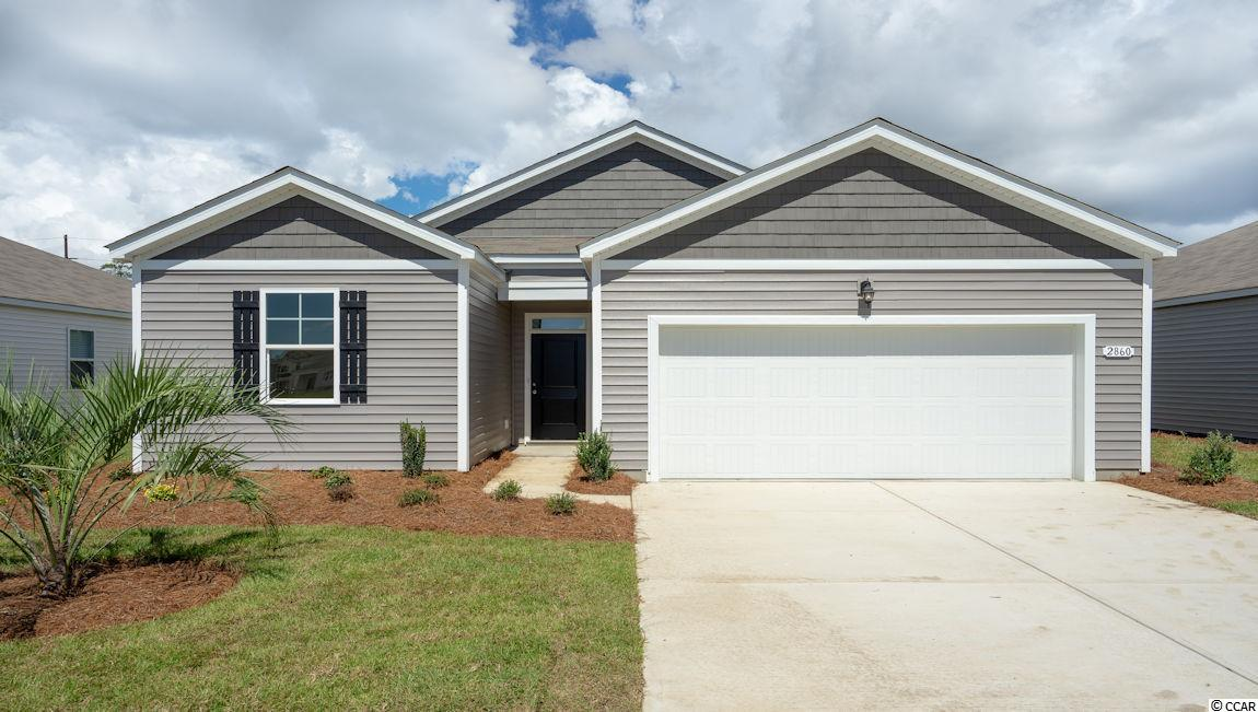 This adorable open-concept 1-level plan MOVE IN READY !!! Enjoy a large family room, private owner's suite, rear covered porch and 2-car garage. Kitchen features Bisque (cream) cabinets, granite countertops, stainless steel appliances including refrigerator, and breakfast bar with pendant lights. Home has solid surface flooring (resilient hardwood-look vinyl) throughout main living areas, bathrooms and laundry room. Washer, dryer and garage door opener included! Our home owners will enjoy a gracious pool, open air amenity center, pickle ball court, walking trails and a short golf cart ride to the beach. Live like you're on vacation!