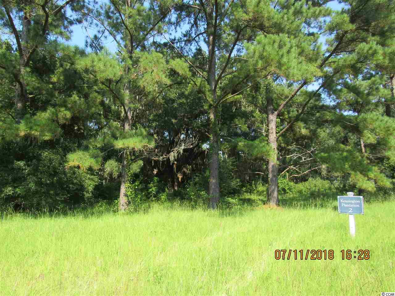 Just over 3 acres, this Large marsh front lot located in private community of Kensington Plantation...just minutes from front street in Georgetown.  This lot features large live oak trees and a perfect location for a grand low country style home.  Property owners enjoy private secure neighborhood just minutes to shops and dining as well as recreational activities. Community dock and community boat landing are also available for property owners. Located at the end of the road with direct views of the Black River and rice fields make this lot the perfect spot to build the home of your dreams.  Community consists of 386 secluded acres with 14 homesites and dyked rice fields for water fowl.