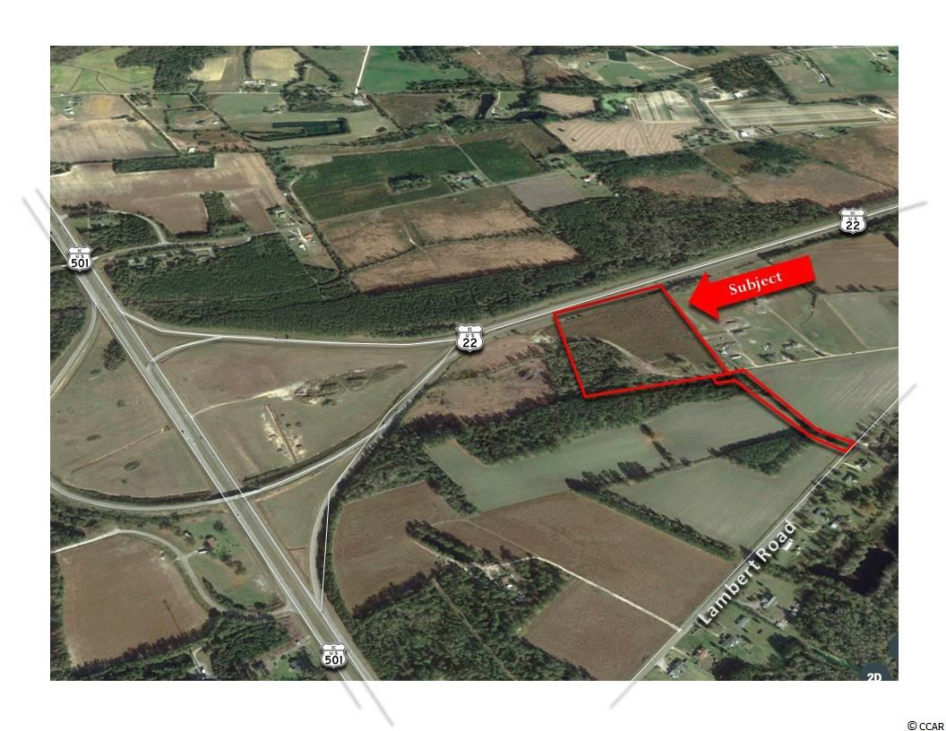 Centralized Holding Tract-22 Acres-Land for Sale-Conway, SC. by Keystone Commercial Realty  FOR SALE Approximately 22 Acres located at the terminus of U.S. Highway 22 and U.S. Highway 501.  Tract is also accessible via Lambert Road. This site offers great exposure as well as excellent visibility.   GENERAL SITE INFORMATION: Approximately 22+/- Acres, (See Survey) Approximately 645' of Frontage along US Highway 22 50' Private Access via Lambert Road  ZONING:  Highway Commercial (HC), County Of Horry, SC.
