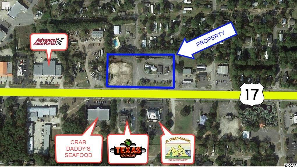 Subject property is a 2.74 acre parcel zoned Highway Commercial and offers 530' frontage on Highway 17 North. This parcel is mostly cleared and ready for development with utilities available onsite.  Development will be subject to t he Windjammer Village PUD, with retail/restaurant/office uses allowed.  Located 1 mile north of the Horry/Georgetown County line and 0.8 miles south of Atlantic Avenue, the main traffic artery into Garden City Beach, subject property is located on Highway 17 South. Existing commercial development is supported by the tourist district at Garden City Beach and residential development along the Highway 17 corridor. Nearby businesses include Texas Roadhouse, McDonalds, El Cerro Grande, Flapjack's Pancake House, Old Chicago Pizzeria & Taproom, Wal-Mart Supercenter, and numerous other restaurants and tourism oriented