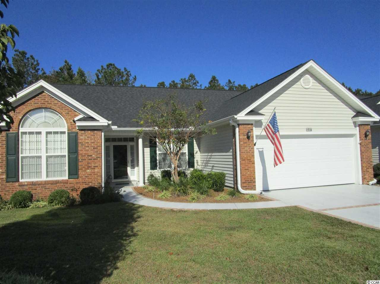 "Myrtle Trace 3BR/2BA home in 55+ Golf Course Community. Large open floor plan with Den. Soaring cathedral ceilings, Pergo wood floors & tile in ""traffic areas"", carpet in bedrooms. Quiet private backyard. This home has many upgrades, all appliances including washer/dryer & window treatments convey with home. New roof 2018. This home is in very good condition inside and out."