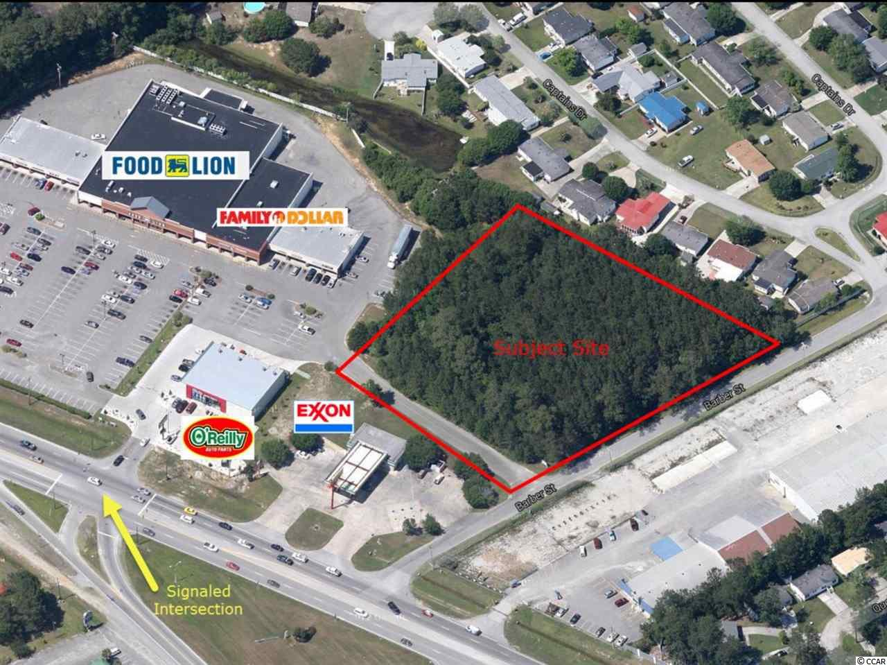 This 2.89 acre parcel is an out-parcel to the Food Lion Shopping Center. The site has access via Barber Street (County Road) directly from Highway 9 and via a signaled entrance into the shopping center. The site has good exposure to Highway 9. It has 405' of frontage on Barber Street and 267' on a private access easement across the front of the property as well as curb cuts to the Food Lion Shopping Center.  Located just off the signalized intersection of Highway 9 and Sea Mountain Highway.   Average Daily Traffic Count 26,500.   It's zoned highway commercial.    Great for building a strip center, mini storage, car wash, medical office.   Many possibilities, see associated documents for deed restrictions.  Bridgewater is the newest subdivision in the area. Formerly, Bay Tree Golf Course.      McLeod Hospital recently did a multi-million dollar expansion and upgrade to the facility.