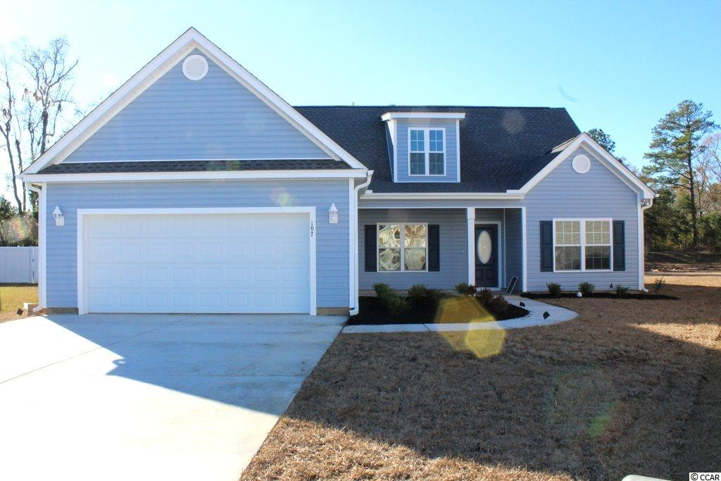 """NO HOA fee, large home sites! Affordable 5 bedroom, 3 bath home with 17'x12' bonus room. Relaxing 16' covered front porch, open floor plan, split bedrooms. Irrigation included with 16 pallets of sod. Private 1st floor 17'x12' master bedroom suite is on one side of the house, has 2 walk-in closets, linen closet, 2 sinks and a vanity area, private commode room, large walk-in shower. 2 11'x12' guest bedrooms on 1st floor. Kitchen has wrap around breakfast counter, solid wood cabinets with crown molding and knobs, gas stove and a pantry closet. Laundry room. Upstairs are 2 bedrooms, a bath and a bonus room. Bedroom 4 is 11'x12'. Rinnai tankless gas water heater, gas heat. Upgraded interior trim includes 3 1/4"""" casings and 5 1/4"""" baseboards. Low E glass windows, energy efficient homes. Boat and RV parking allowed. Large 21' x 24' finished/painted oversized 2-car garage with automatic door opener and pull down stairs to attic storage above. Irrigation system, gutters, sodded and landscaped yard. Natural gas community. Close to International Drive, quick/easy access to Myrtle Beach. Basic Restrictive Covenants. Photos and video are for illustrative purposes only and may be of similar home built elsewhere. Square footage is approximate and not guaranteed. Buyer is responsible for verification."""