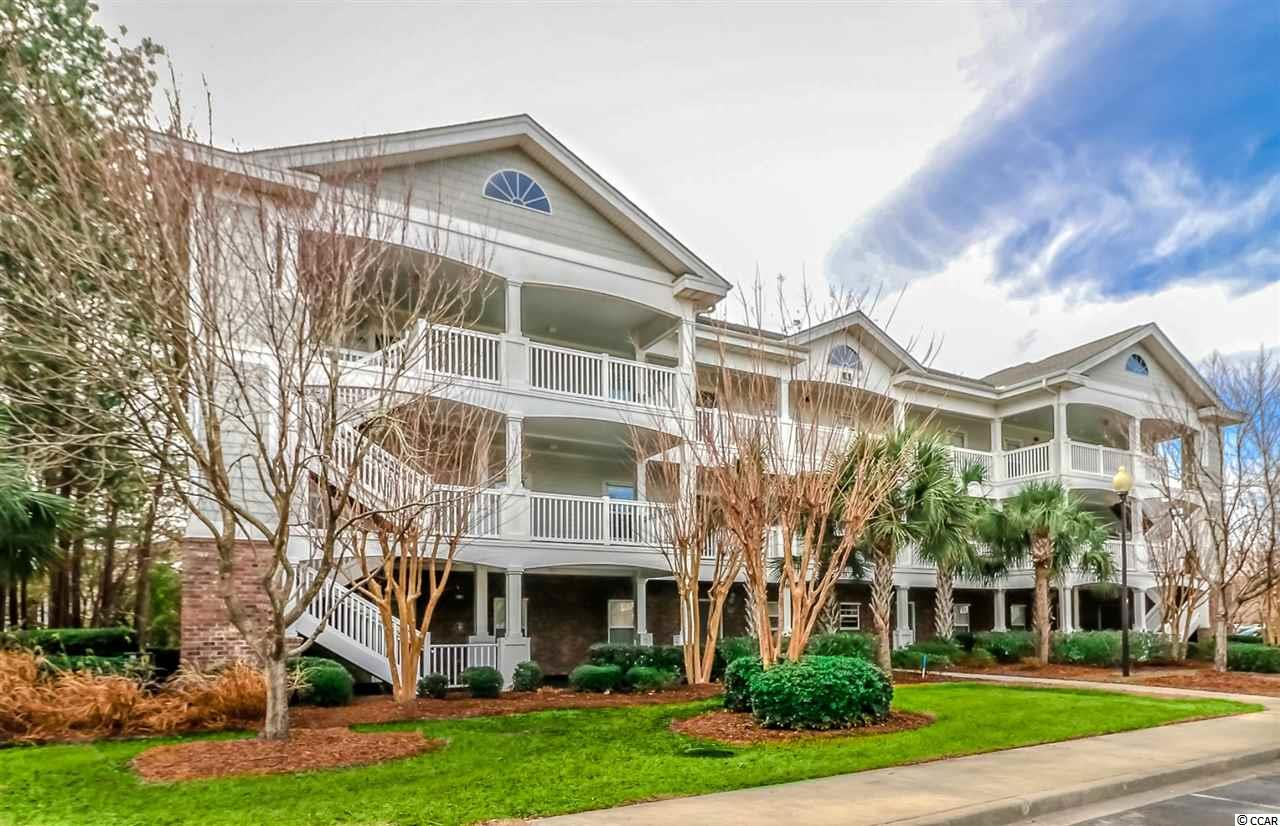 First floor 2 bedroom 2 bath end unit turn key condo in the Barefoot Resort community of River Crossing. The perfect property for a primary residence, vacation home or investment property. The unit is being sold fully furnished, so just pack your clothes and toothbrush to move on in. Master bedroom features a walk in closet, additional closet space and private full bath. Split bedroom layout and 2nd full bath provides privacy for guests. The screened in porch with serene views of the golf course and community lake is a perfect setting to enjoy your morning coffee or afternoon cocktails before hitting the golf course or a night on the town. There is also an attached storage area on the back porch. Barefoot amenities are amazing and include access to the oceanfront beach cabana, shuttle service in season, use of the pool in the community as well as the 15,000 sq ft salt-water pool on the ICW in front of the North Tower. Rent a slip at the marina for parking your boat or a couple of jet-skis for an afternoon of fun on the water. Barefoot Resort is home to four golf courses and is known for it's beautiful landscaping and wide sidewalks. First floor end units do not last long, so call for your showing today! Measurements are not guaranteed and are up to the buyer to verify.
