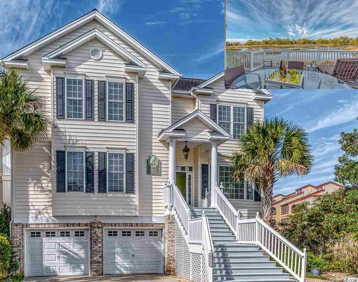 """Atop a bank on the saltwater estuary known as Singleton Swash is 9511 Maison Court, designed to capitalize on the breathtaking unparalleled views, this custom built home is a rare find. Estuaries are incredibly dynamic systems where the natural habitat is everchanging. From the family room, kitchen, dining room, and main floor deck endless vistas of the wildlife and Nationally Ranked Dunes Golf Course will provide countless hours of serenity. Only a short walk and shorter golf cart ride to the Atlantic Ocean and the wide, friendly white sand shores of Myrtle Beach make this location the best of both worlds. 9511 Maison Court is uniquely qualified to be a second home or primary residence. The open floor plan has impressive sightlines from one end of the kitchen to the opposite end of the family room. An elevated island bartop in the kitchen is ideal for a quick bite to eat or service area when entertaining. Your morning coffee or evening beverage will be enjoyed most on the expansive backside deck. Rounding out the main living area is a formal living room, bedroom w/ ensuite bathroom, and laundry room. On the top level of the home, a master retreat encompasses the backside of the house. This oversized suite has a large sleeping area and a sitting area that have panoramic views rarely seen. With two walk-in closets and a master bathroom, this is genuinely an Owners Retreat. A private access screen porch is a romantic setting to watch the sunset. Additionally, on this level are two spacious guest bedrooms both with ensuite bathrooms. The ground level of your new home is an expansive two car garage that has room for a golf cart and additional """"toys."""" The separate climate controlled finished room is perfect for storage, playroom, game room or many other possibilities and combinations. Are you looking for a home that not only provides a """"roof over your head"""" but also provides a lifestyle? Well, look no further because 9511 Maison Court is precisely that. A quiet respite f"""