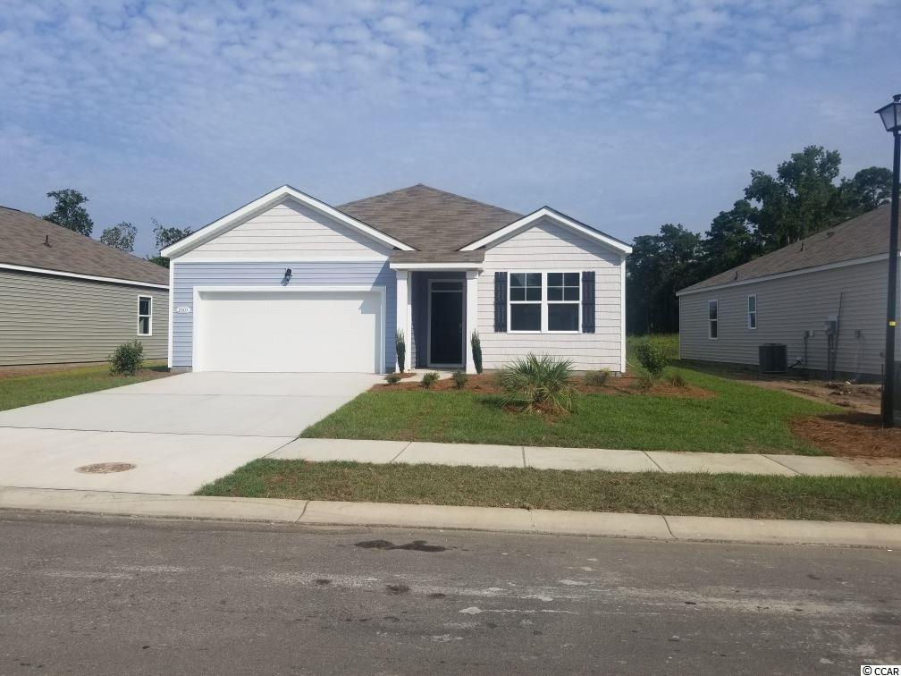 "This Aria plan has a great open design. Kitchen features stainless appliances (including refrigerator) and 36"" cabinets with pendant lights over the gourmet granite counter height island, all overlooking the spacious Living Room and Dining Room - great for entertaining! Low maintenance Luxury Vinyl Wood Plank floors throughout the living area, bathrooms and laundry room. From the Dining Room, sliding glass doors take you to a 12 x 8 ft. covered porch. Owner's suite offers a large walk-in closet and bath with 5 ft. shower, double vanity and sinks. Will be completed MAY 2019! Washer, dryer and garage door opener included! Be the first to live in Meridian at Market Common. The Meridian will offer 200-300 new homes, featuring 10 floor plans both ranch and two story homes. We are the price-leader for single family homes in Market Common! Our home owners will enjoy a gracious pool, hot tub, air conditioned pickle ball court/meeting space, walking trails and a short golf cart ride to the beach. Live like you're on vacation! Photos of home are of a model home of same floor plan in another community and are for presentation only."
