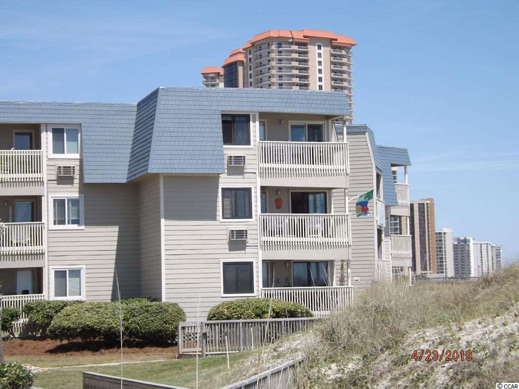 Great direct oceanfront condo that has a spectacular view of the southern coastline and fabulous views of the ocean. 2br 2ba 3rd floor unit with sheetrock walls, mirrored wall in living room. Building being resides with hardy plank siding and any damaged wood is being replaced. Not many units for sale. Close to Ocean Annie's, and restaurants shopping and entertainment, and Apache Pier. Square footage is approximate and not guaranteed. Buyer is responsible for verification.