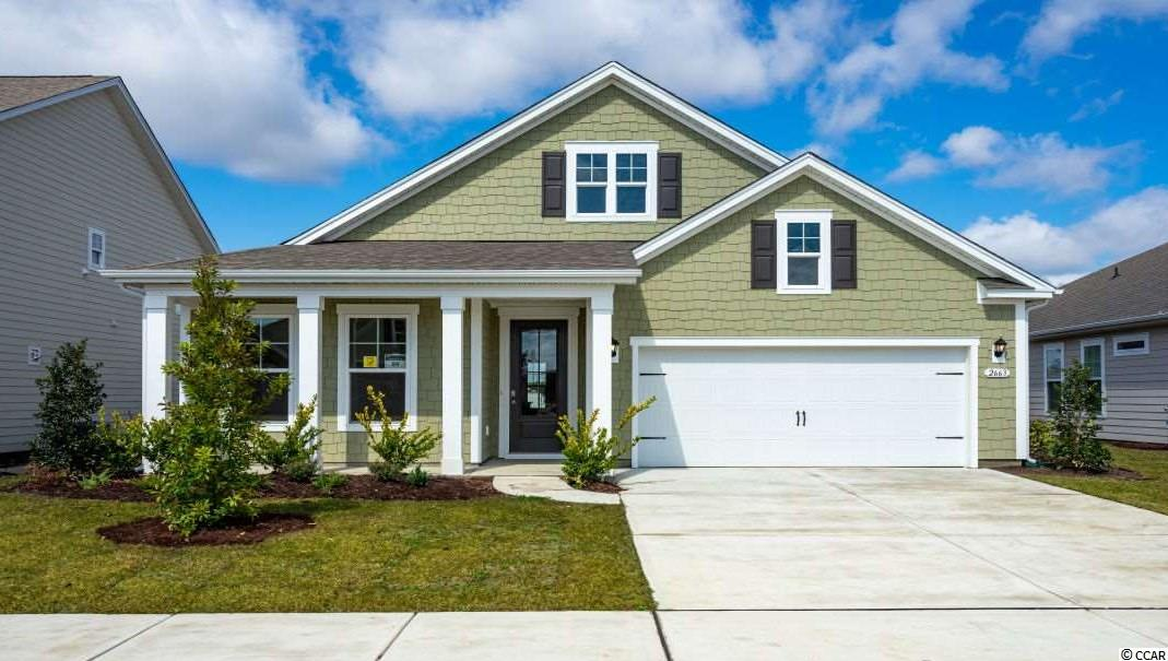 """READY this JULY!!!!!   This """"SMART HOME"""" is connected!!! Lock or unlock your doors, control the temperature of your home and see who is ringing your door bell, all from your smart phone! This is one of the many features this home offers! Outside of home has a high-end feel with Hardie Board siding, arched entryway and stone accent.  Enter this 1-story home through an 8' 3/4 light glass front door into the large foyer.  Three guest rooms share a bathroom up front, then continue into the open-concept kitchen, living and dining rooms!  Oversized granite counter height kitchen island, perfect for entertaining, overlook the family room and dining rooms that come with hardwood floors and, crown molding and 5"""" baseboards.  The spacious kitchen offers stainless appliances (including gas stove), tiled backsplash, plenty of cabinet and counter space with a large walk-in pantry.  Huge owner's suite in the back of the home with a great size owner's bath that offers double bowl vanity, 5 ft. walk-in shower, soaking tub and large walk-in closet. Sliding doors off the dining area lead to the 8 x 11 covered porch. Home has beautiful hardwood flooring in living areas, tile in bathrooms and laundry, crown molding and tall baseboards. Natural gas neighborhood!   The Summit at Meridian is a new community and will offer 200-300 new homes, featuring 11 floor plans both ranch and two story homes. Our home owners will enjoy a gracious pool and hot tub, air conditioned pickle ball court/meeting space, walking trails, and a short golf cart ride to the shops and dining in the Market Common area and the beach. Live like you're on vacation!    Photos of home are of a model home of same floor plan in another community and are for presentation only.  This home is to be built and can be ready for closing in summer 2019."""