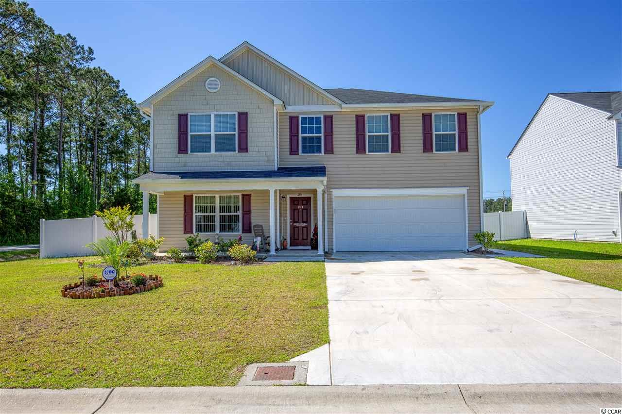 You won't want to miss out on seeing this beautiful 3BR, 2 1/2 bath home located less than 10 minutes to the ocean! Built in 2018, this two story home offers over 3,200 heated sq. ft. and is situated on a .25 acre, corner lot. The owner has made several recent upgrades including a 6 ft vinyl privacy fence, a 40 ft. X 12 ft. concrete patio, gutters on the home, updated appliances, custom window blinds, several new light fixtures, and a large kitchen sink with garbage disposal. As you enter the front door, you will be welcomed with an open foyer which leads to the dining room/family room that is the perfect place for your family dinners and get togethers. The kitchen boasts stainless steel appliances, a walk-in pantry, a large center island, plenty of counter space, drawers in the cabinets, and an eat-in kitchen area. Just off of the kitchen is the living room that is sure to have enough room for your big screen TV and all of your furniture. There is also a half bath located just off the dining room. Upstairs you will find the master suite, two large bedrooms with walk-in closets, a laundry room, and a loft area. The master bedroom is 18.7ft X 21.3ft and also offers a sitting area and a walk in closet that is bigger than most guest bedrooms! The master bathroom has a stand-up shower, garden tub, dual vanity sinks, and a linen closet. Outside you will enjoy a large backyard with oversized concrete patio that is perfect for your outdoor furniture and grill. Schedule a time to see this spacious home today! Square footage is approximate and not guaranteed. Buyer is responsible for verification.