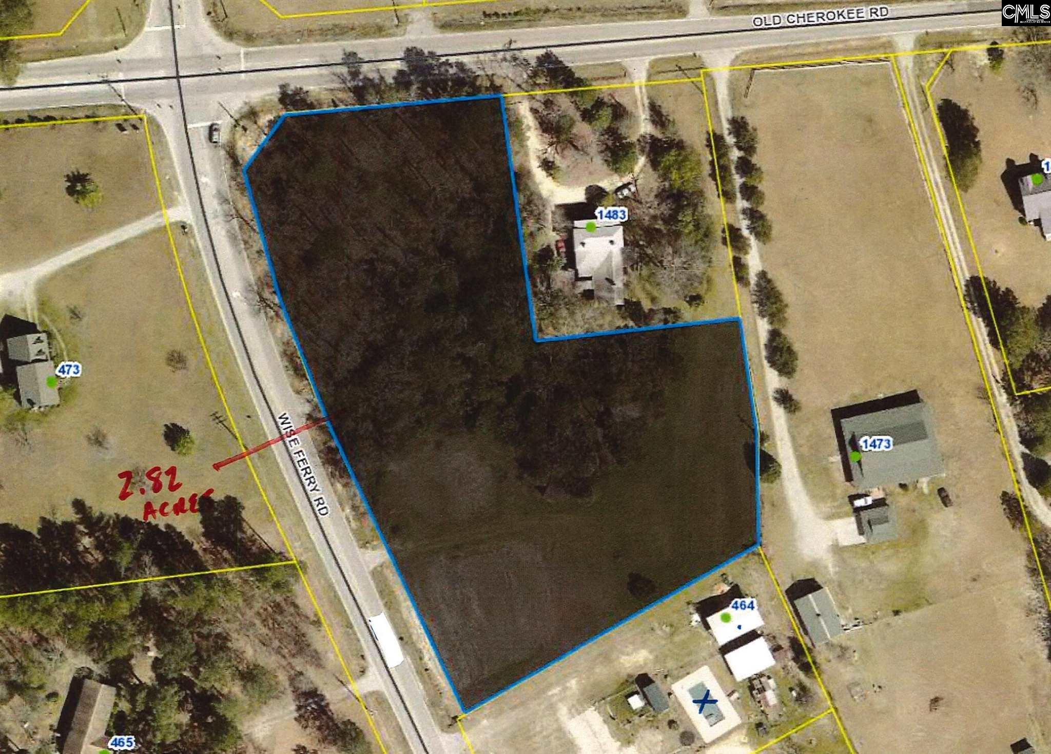 +/- 2.82 acres on corner of Old Cherokee Rd and Wise Ferry Rd with a total of 12,200 VPD on Old Cherokee (SCDOT 2020). There is 168' of road frontage on Old Cherokee Rd and 480' on Wise Ferry. Sewer is 700' away and water is available. Owner will consider subdividing or selling the entire parcel which includes an income producing office and an additional 0.96 acres. Owner will also consider build to suit. This piece is currently zoned RD in scenic corridor.