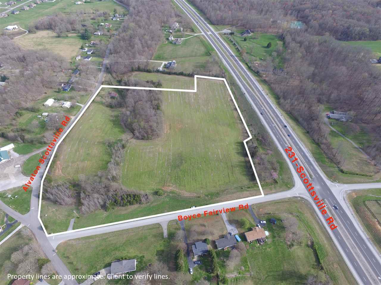 17.17 acres in Alvaton fronting three roads; Scottsville Rd ( HWY 231) Boyce Fairview Rd, Alvaton Scottsville Rd. Great opportunity as an investment, potential developer or a beautiful spot to build a home with acreage. One of South Ky's most desirable areas. A very rare opportunity.